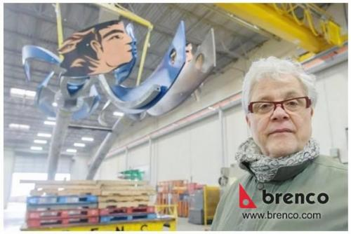 Vancouver artist Michael Yahgulanaas views a metal sculpture he designed called Rivers at Brenco Industries in Delta where it was fabricated. Rivers is 10-metres tall and will be erected in Kamloops.